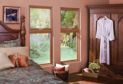 Vinyl replacement windows twin awning windows with woodgrain come in dozens of decorative options