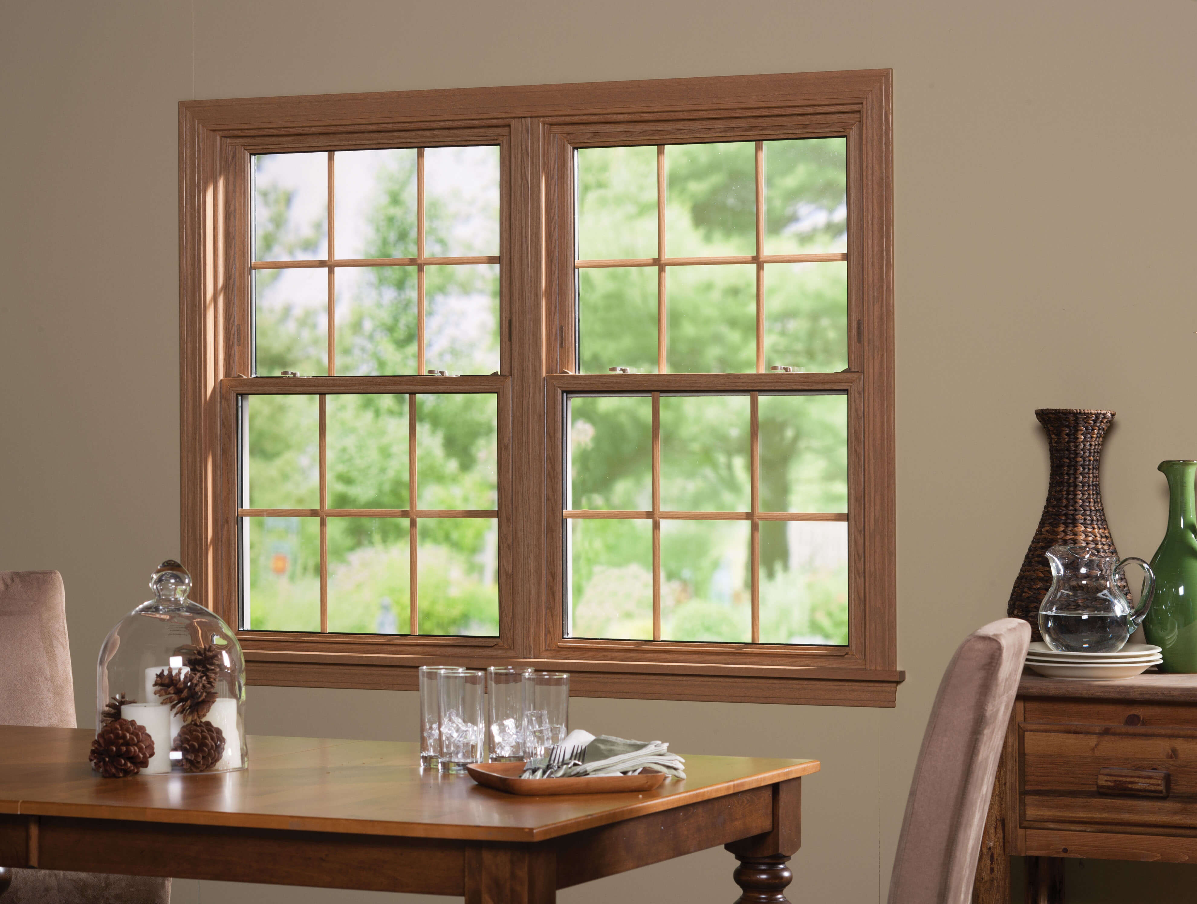 Vinyl windows with sophisticated styling of wood windows come in dozens of decorative options