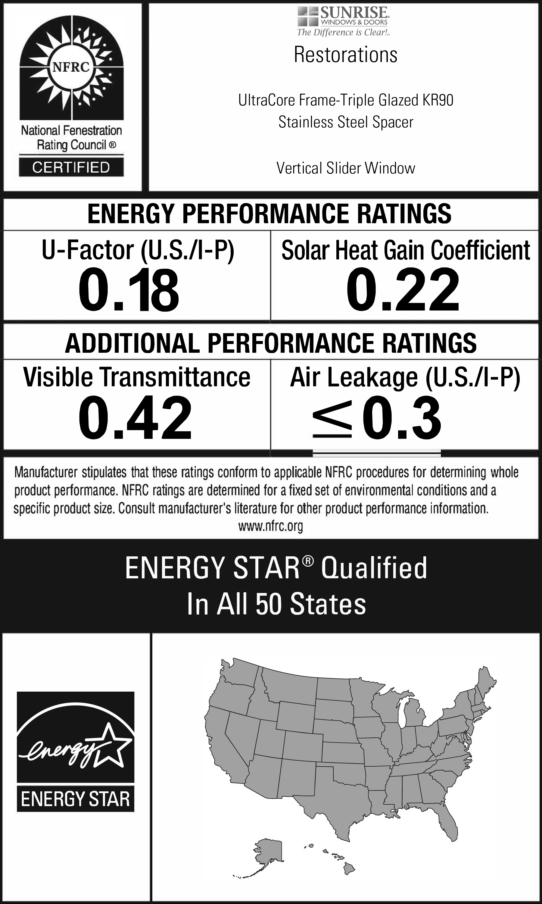 Restorations Windows NFRC energy performance rating label